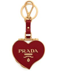 Prada - Heart Pill Saffiano-leather Key Ring - Lyst