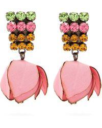 Marni - Crystal Embellished Flower Drop Clip Earrings - Lyst