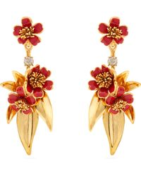 Oscar de la Renta - Delicate Flower Gold Plated Drop Clip On Earrings - Lyst