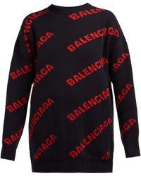 Balenciaga - Logo Patterned Wool Blend Jumper - Lyst