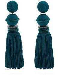 Oscar de la Renta - Bead-embellished Tassel-drop Clip-on Earrings - Lyst