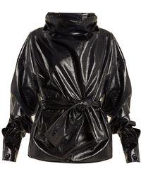 Wanda Nylon - Funnel-neck Tie-waist Coated Cotton-blend Top - Lyst