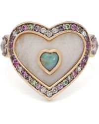 Noor Fares - Anahata 18kt Gold, Agate, Opal & Sapphire Ring - Lyst