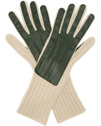 Hot Burberry - Leather Panelled Cashmere Gloves - Lyst 10e8b5f1e