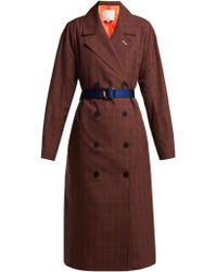 Tibi - Checked Double Breasted Twill Trench Coat - Lyst