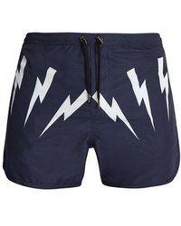 Neil Barrett - Lightning-bolt Print Swim Shorts - Lyst