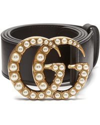 Gucci - Faux Pearl-embellished Gg-logo 4cm Leather Belt - Lyst