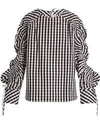 Teija - Smocked-sleeve Striped Cotton Top - Lyst