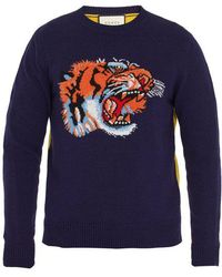 Gucci - Tiger-intarsia Contrast-back Wool Sweater - Lyst