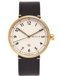 Bravur - Bw102 Stainless-steel And Grained-leather Watch - Lyst