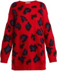 Valentino - Leopard-print Mohair-blend Jumper - Lyst