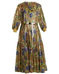 Toga - Belted Floral-print Nylon Dress - Lyst