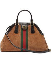 cdc8a3cc009e Lyst - Gucci Dionysus Web Stripe Leather Shoulder Bag - in Brown