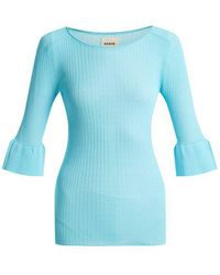 Khaite - Jean Bell-cuff Ribbed-knit Top - Lyst
