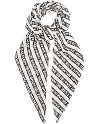 Balmain - Logo Striped Cotton Scarf - Lyst