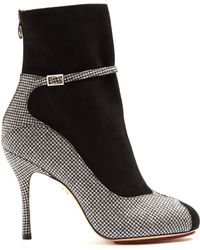 Charlotte Olympia | Incognito Hound's-tooth Suede And Wool Boots | Lyst
