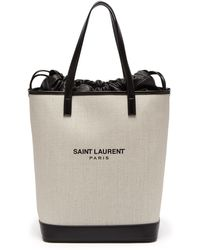 Saint Laurent - Teddy Drawstring Canvas Tote - Lyst