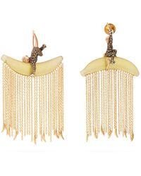 5b0c1daae74 Bibi Van Der Velden - Monkey Chain Diamond   18kt Gold Earrings - Lyst
