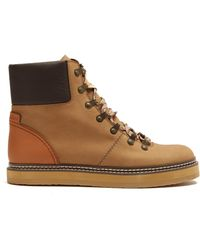 See By Chloé - Leather And Suede Ankle Boots - Lyst