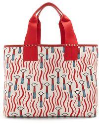 Valentino - Lipstick-print Canvas Tote Bag - Lyst