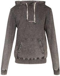 Saint Laurent - Hooded Logo-print Cotton Sweatshirt - Lyst