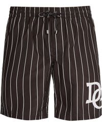 Dolce & Gabbana - D&g Varsity Stripe Logo Swim Shorts - Lyst