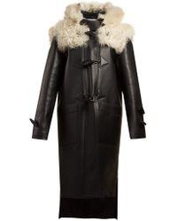 Loewe - Shearling Trim Leather Coat - Lyst