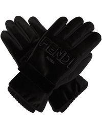 Fendi - Logo Embossed Velvet Trimmed Gloves - Lyst