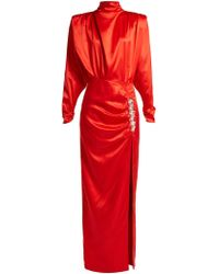 Alessandra Rich - Crystal Embellished Silk Satin Gown - Lyst