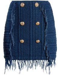 Balmain - Frayed Button-embellished Tweed Mini Skirt - Lyst