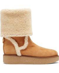 Ferragamo - Bonne Shearling And Suede Boots - Lyst