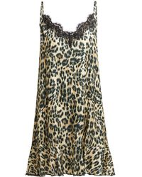 Icons - Jasmin Leopard Print Silk Blend Slip Dress - Lyst