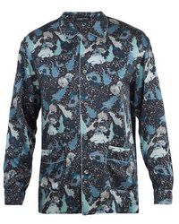 Meng - Decorative Floral-print Silk-satin Pyjama Shirt - Lyst
