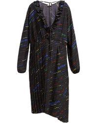 Balenciaga - Logo Print Pleated Silk Crepe Midi Dress - Lyst