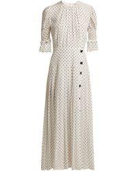 Alessandra Rich - Polka Dot Print Pleated Silk Dress - Lyst