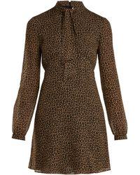 Saint Laurent - Leopard Print Tie Neck Wool Dress - Lyst