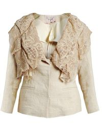 By Walid - Renuca 19th-century Lace-collar Linen Jacket - Lyst