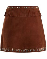 Miu Miu - Stud-embellished Fringed Suede Mini Skirt - Lyst