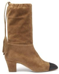 Rupert Sanderson - Tiptoe Square-toe Suede Knee-high Boots - Lyst