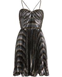 Maria Lucia Hohan - Gaia Striped Pleated Lamé Mini Dress - Lyst
