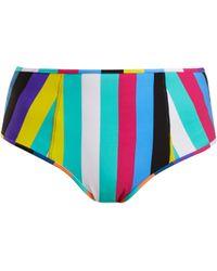 Diane von Furstenberg - Striped High Rise Bikini Briefs - Lyst