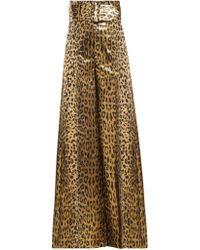 Sara Battaglia - Wide Leg Leopard Lamé Trousers - Lyst