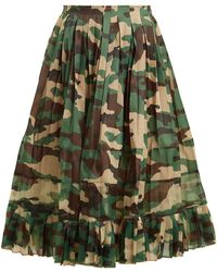 Junya Watanabe - High Rise Camouflage Print Pleated Skirt - Lyst