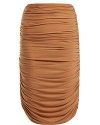 Norma Kamali - - Shirred Ruched Skirt - Womens - Tan - Lyst