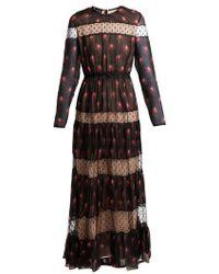 Giambattista Valli - - Rosebud Print Silk Chiffon Dress - Womens - Black Multi - Lyst