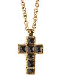 Gucci - Cross Pendant Bead Necklace - Lyst