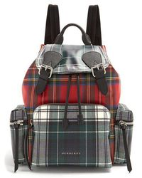 Burberry - Medium Laminated-tartan Backpack - Lyst