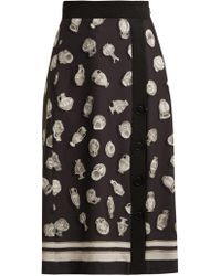 Altuzarra - Banksia Printed Front Slit Crepe Skirt - Lyst