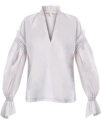 Jonathan Simkhai - Ruffled-collar Cotton-poplin Blouse - Lyst