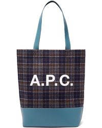 A.P.C. - Axelle Checked Felt Tote Bag - Lyst